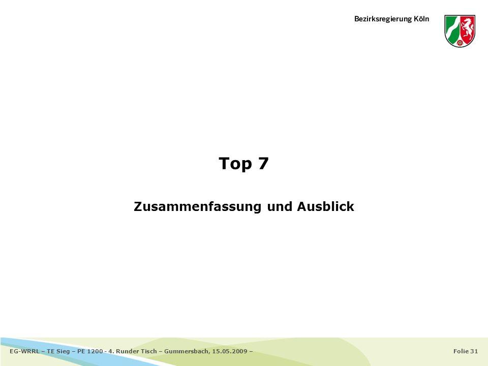 Folie 31EG-WRRL – TE Sieg – PE 1200 - 4. Runder Tisch – Gummersbach, 15.05.2009 – Top 7 Zusammenfassung und Ausblick