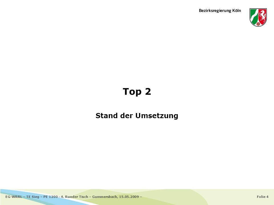 Folie 4EG-WRRL – TE Sieg – PE 1200 - 4. Runder Tisch – Gummersbach, 15.05.2009 – Top 2 Stand der Umsetzung