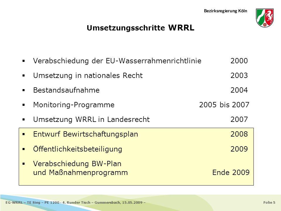 Folie 5EG-WRRL – TE Sieg – PE 1200 - 4. Runder Tisch – Gummersbach, 15.05.2009 – Umsetzungsschritte WRRL Verabschiedung der EU-Wasserrahmenrichtlinie2