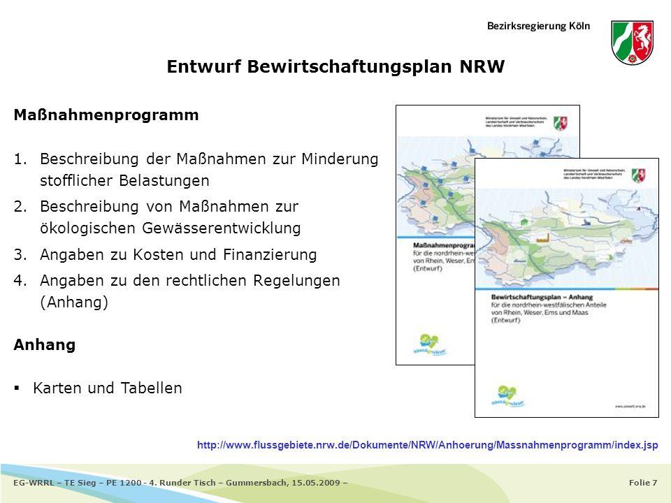 Folie 7EG-WRRL – TE Sieg – PE 1200 - 4. Runder Tisch – Gummersbach, 15.05.2009 – Entwurf Bewirtschaftungsplan NRW Maßnahmenprogramm 1.Beschreibung der