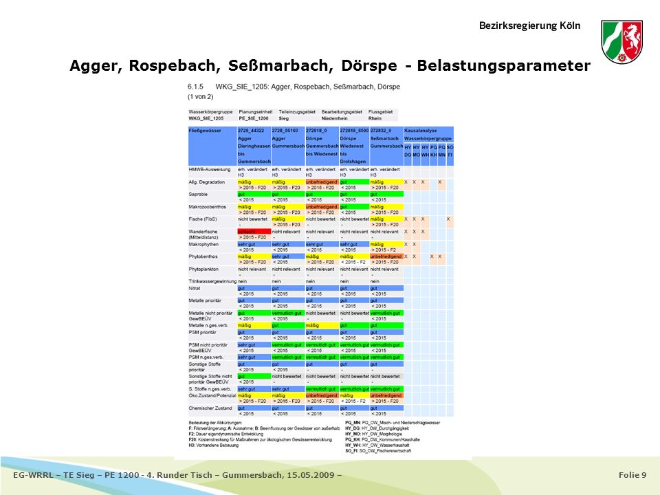 Folie 9EG-WRRL – TE Sieg – PE 1200 - 4. Runder Tisch – Gummersbach, 15.05.2009 – Agger, Rospebach, Seßmarbach, Dörspe - Belastungsparameter