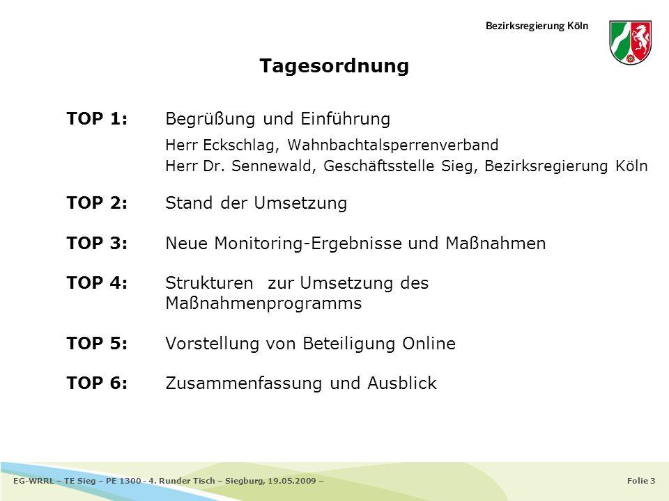 Folie 14EG-WRRL – TE Sieg – PE 1300 - 4. Runder Tisch – Siegburg, 19.05.2009 – Planungseinheit 1300