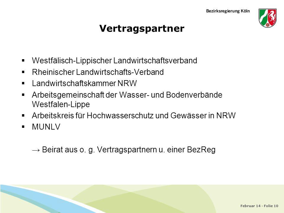 Februar 14 - Folie 10 Vertragspartner Westfälisch-Lippischer Landwirtschaftsverband Rheinischer Landwirtschafts-Verband Landwirtschaftskammer NRW Arbe