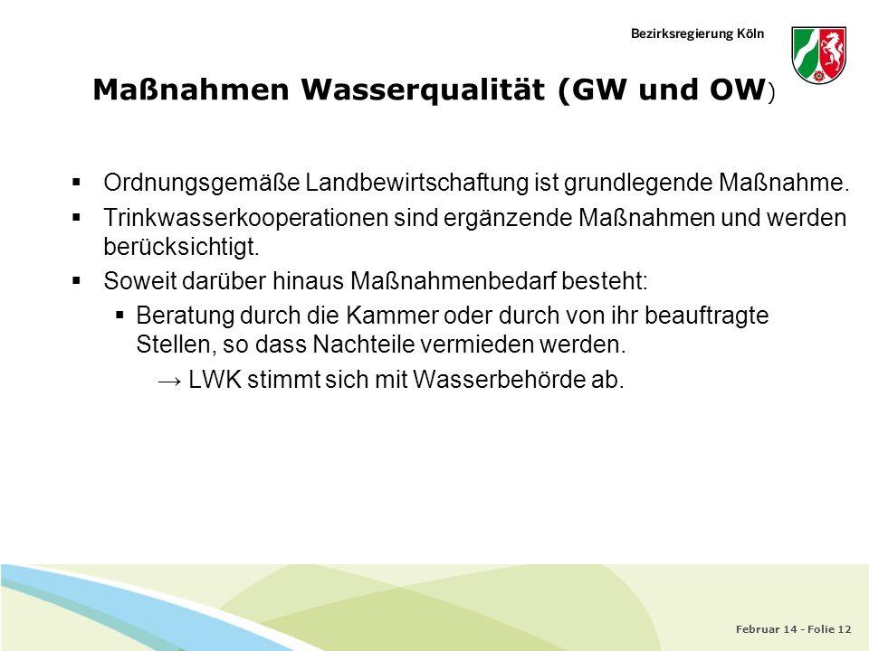 Februar 14 - Folie 12 Maßnahmen Wasserqualität (GW und OW ) Ordnungsgemäße Landbewirtschaftung ist grundlegende Maßnahme. Trinkwasserkooperationen sin