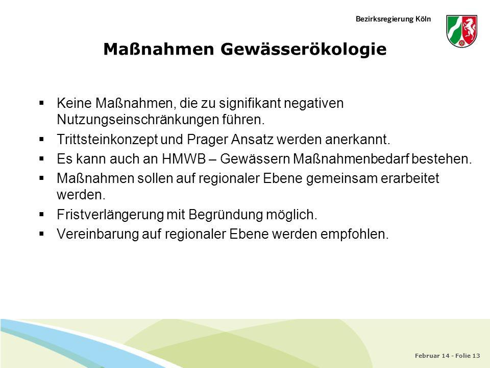 Februar 14 - Folie 13 Maßnahmen Gewässerökologie Keine Maßnahmen, die zu signifikant negativen Nutzungseinschränkungen führen. Trittsteinkonzept und P