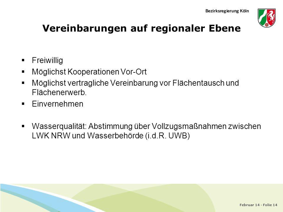 Februar 14 - Folie 14 Vereinbarungen auf regionaler Ebene Freiwillig Möglichst Kooperationen Vor-Ort Möglichst vertragliche Vereinbarung vor Flächenta