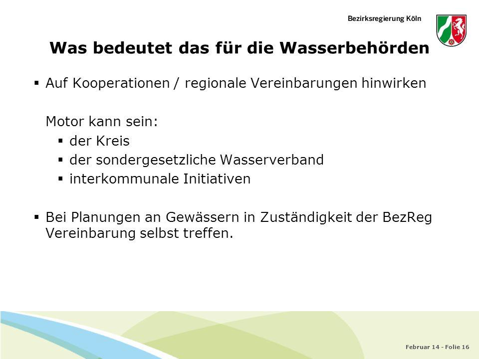 Februar 14 - Folie 16 Was bedeutet das für die Wasserbehörden Auf Kooperationen / regionale Vereinbarungen hinwirken Motor kann sein: der Kreis der so