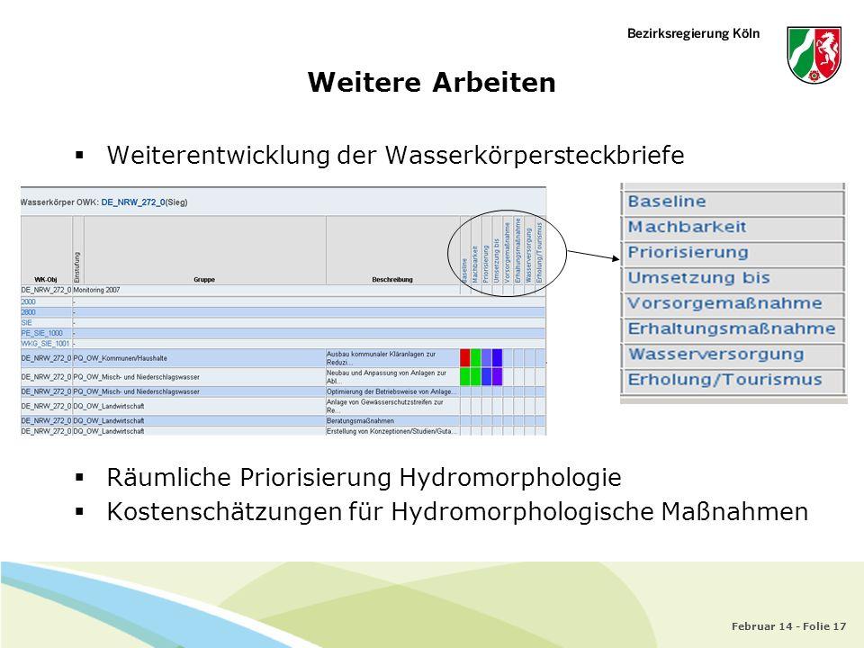 Februar 14 - Folie 17 Weiterentwicklung der Wasserkörpersteckbriefe Räumliche Priorisierung Hydromorphologie Kostenschätzungen für Hydromorphologische