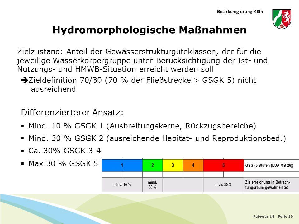 Februar 14 - Folie 19 Hydromorphologische Maßnahmen Zielzustand: Anteil der Gewässerstrukturgüteklassen, der für die jeweilige Wasserkörpergruppe unte