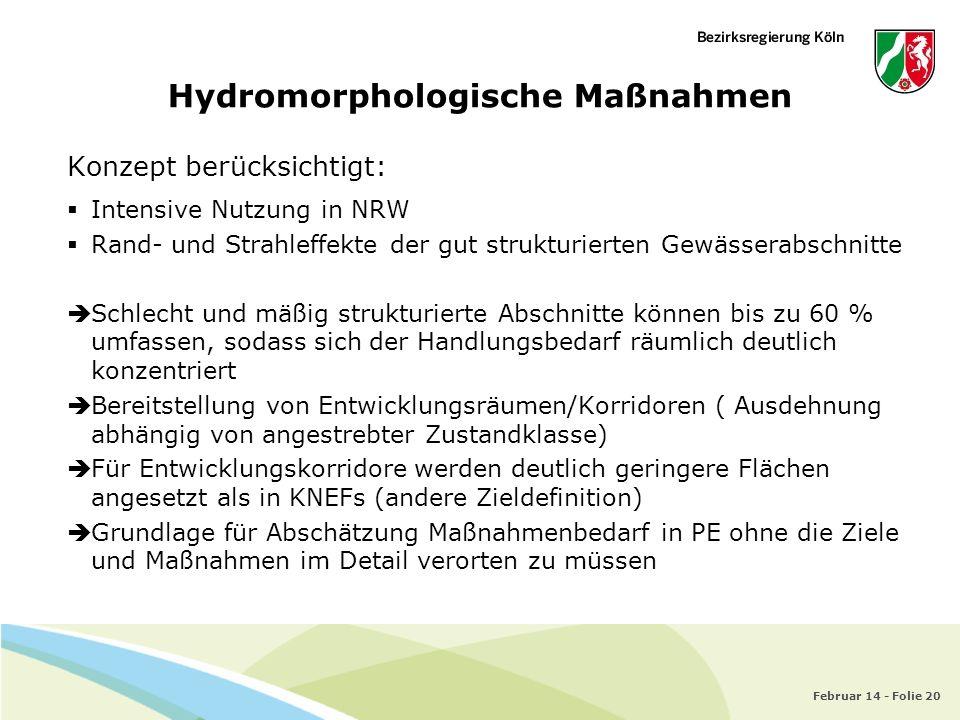 Februar 14 - Folie 20 Hydromorphologische Maßnahmen Konzept berücksichtigt: Intensive Nutzung in NRW Rand- und Strahleffekte der gut strukturierten Ge