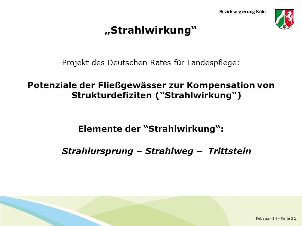 Februar 14 - Folie 22 Strahlwirkung Projekt des Deutschen Rates für Landespflege: Potenziale der Fließgewässer zur Kompensation von Strukturdefiziten