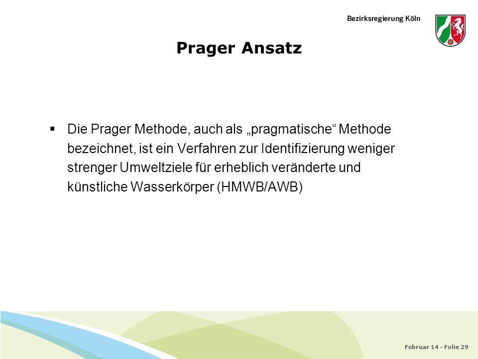 Februar 14 - Folie 29 Prager Ansatz Die Prager Methode, auch als pragmatische Methode bezeichnet, ist ein Verfahren zur Identifizierung weniger streng