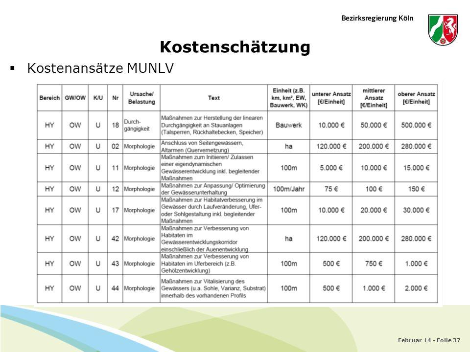 Februar 14 - Folie 37 Kostenschätzung Kostenansätze MUNLV
