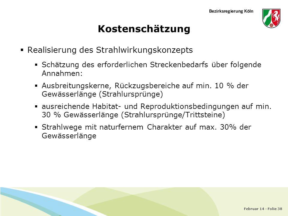 Februar 14 - Folie 38 Kostenschätzung Realisierung des Strahlwirkungskonzepts Schätzung des erforderlichen Streckenbedarfs über folgende Annahmen: Aus