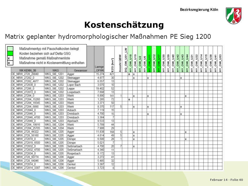 Februar 14 - Folie 40 Kostenschätzung Matrix geplanter hydromorphologischer Maßnahmen PE Sieg 1200