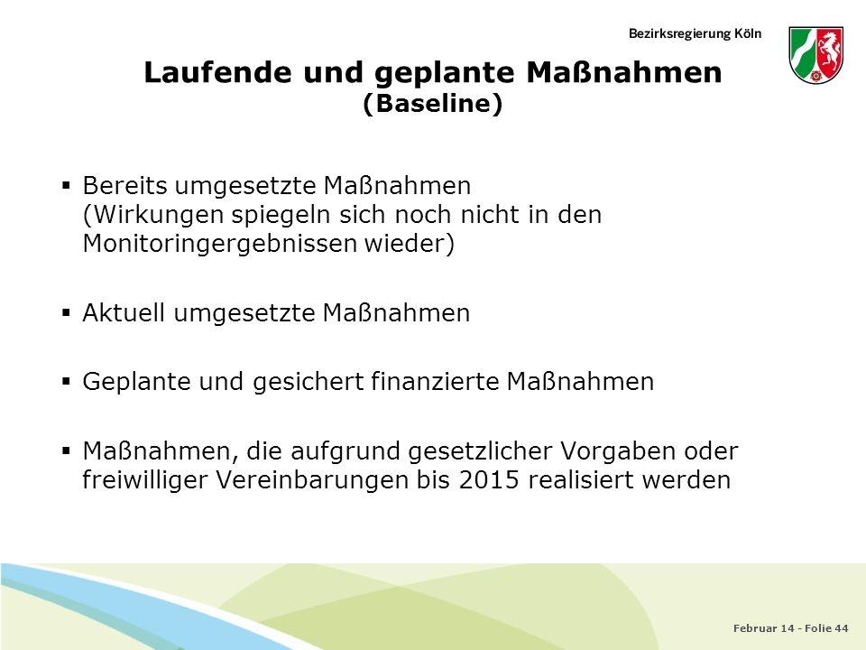 Februar 14 - Folie 44 Laufende und geplante Maßnahmen (Baseline) Bereits umgesetzte Maßnahmen (Wirkungen spiegeln sich noch nicht in den Monitoringerg