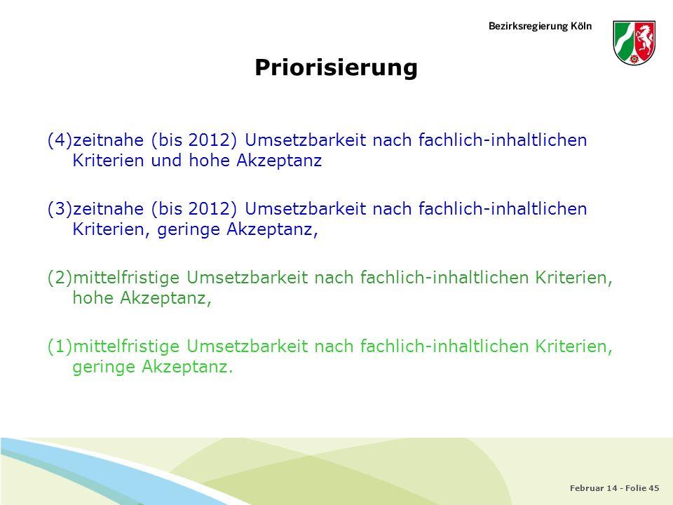 Februar 14 - Folie 45 Priorisierung (4)zeitnahe (bis 2012) Umsetzbarkeit nach fachlich-inhaltlichen Kriterien und hohe Akzeptanz (3)zeitnahe (bis 2012