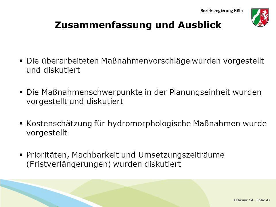 Februar 14 - Folie 47 Zusammenfassung und Ausblick Die überarbeiteten Maßnahmenvorschläge wurden vorgestellt und diskutiert Die Maßnahmenschwerpunkte
