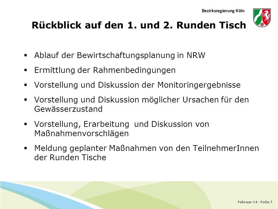 Februar 14 - Folie 7 Ablauf der Bewirtschaftungsplanung in NRW Ermittlung der Rahmenbedingungen Vorstellung und Diskussion der Monitoringergebnisse Vo