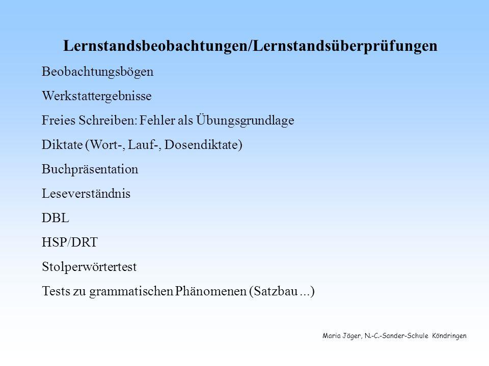 Maria Jäger, N.-C.-Sander-Schule Köndringen Lernstandsbeobachtungen/Lernstandsüberprüfungen Beobachtungsbögen Werkstattergebnisse Freies Schreiben: Fehler als Übungsgrundlage Diktate (Wort-, Lauf-, Dosendiktate) Buchpräsentation Leseverständnis DBL HSP/DRT Stolperwörtertest Tests zu grammatischen Phänomenen (Satzbau...)