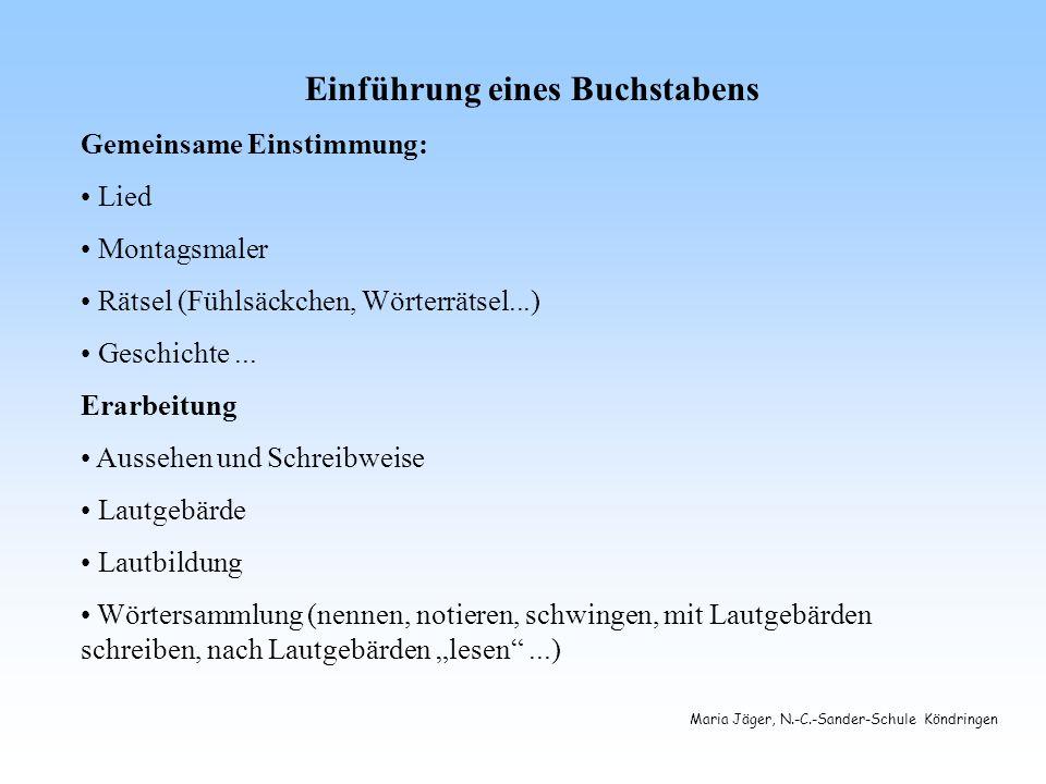 Maria Jäger, N.-C.-Sander-Schule Köndringen Einführung eines Buchstabens Gemeinsame Einstimmung: Lied Montagsmaler Rätsel (Fühlsäckchen, Wörterrätsel...) Geschichte...
