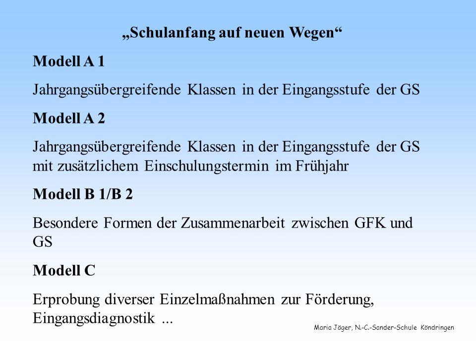 Maria Jäger, N.-C.-Sander-Schule Köndringen Bedeutung für die Schulanfänger Modell A 1 Orientierung an den individuellen Lernvoraussetzungen der Kinder (vgl.