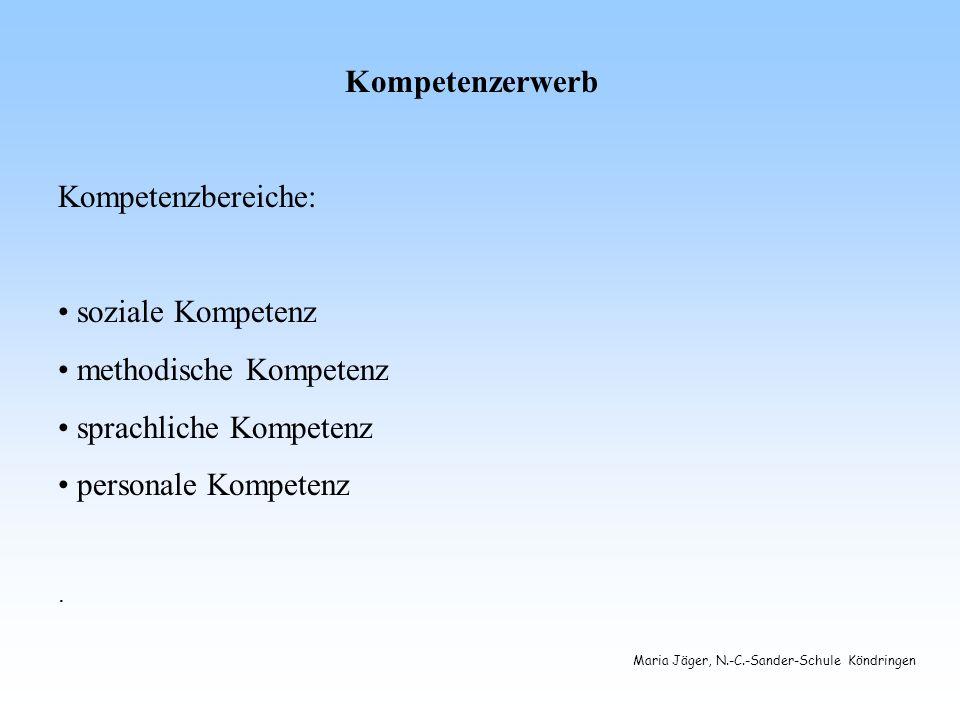 Maria Jäger, N.-C.-Sander-Schule Köndringen Kompetenzerwerb Kompetenzbereiche: soziale Kompetenz methodische Kompetenz sprachliche Kompetenz personale Kompetenz.