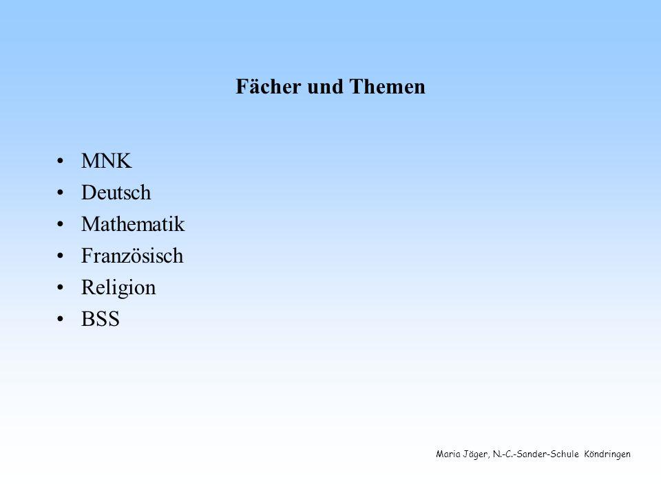 Maria Jäger, N.-C.-Sander-Schule Köndringen Fächer und Themen MNK Deutsch Mathematik Französisch Religion BSS
