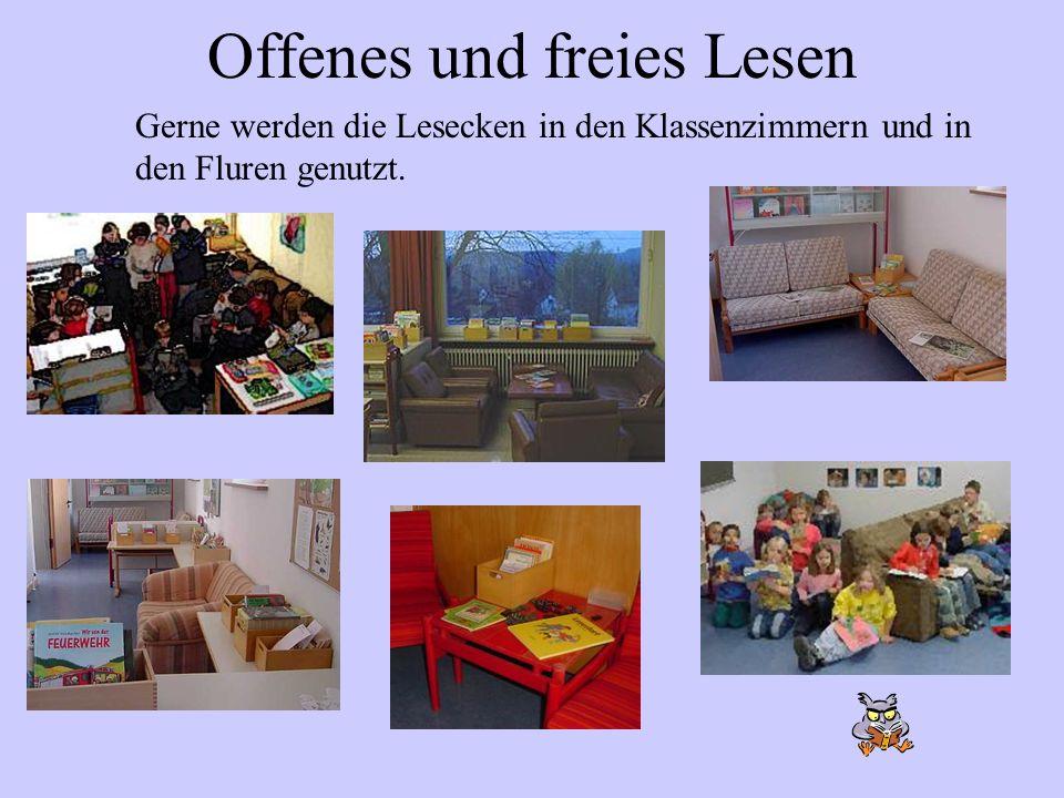 Offenes und freies Lesen Gerne werden die Lesecken in den Klassenzimmern und in den Fluren genutzt.