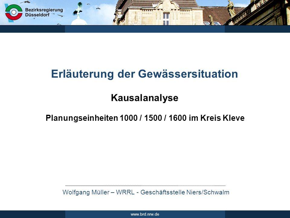 Wolfgang Müller – WRRL - Geschäftsstelle Niers/Schwalm www.brd.nrw.de Kausalanalyse Erläuterung der Gewässersituation Planungseinheiten 1000 / 1500 /