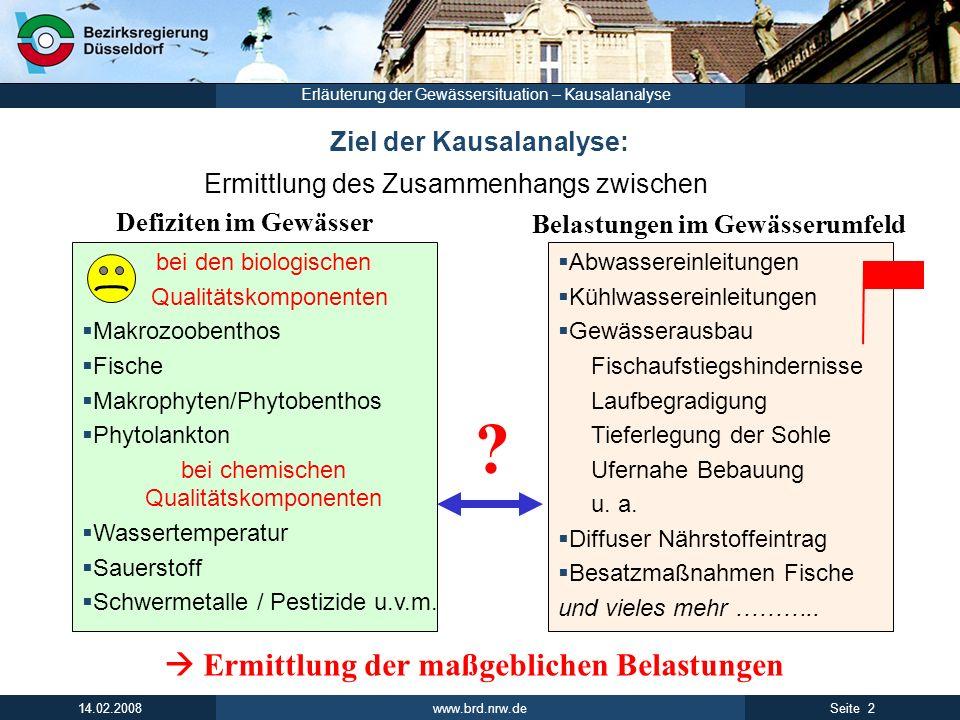 www.brd.nrw.de 2Seite 14.02.2008 Erläuterung der Gewässersituation – Kausalanalyse Ziel der Kausalanalyse: Ermittlung des Zusammenhangs zwischen bei d