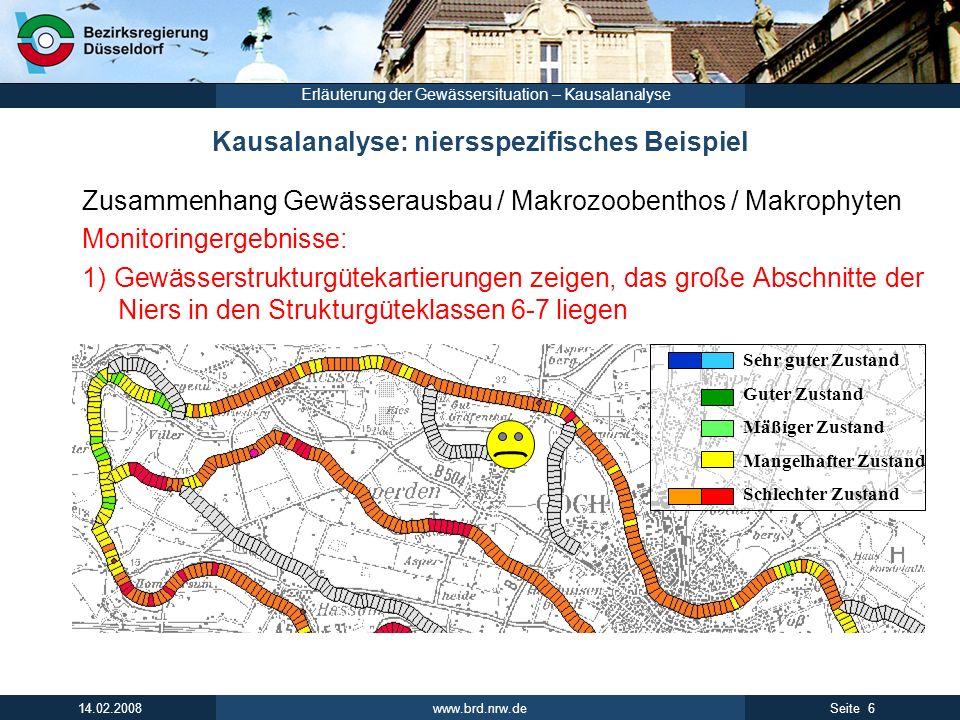 www.brd.nrw.de 6Seite 14.02.2008 Erläuterung der Gewässersituation – Kausalanalyse Kausalanalyse: niersspezifisches Beispiel Zusammenhang Gewässerausb