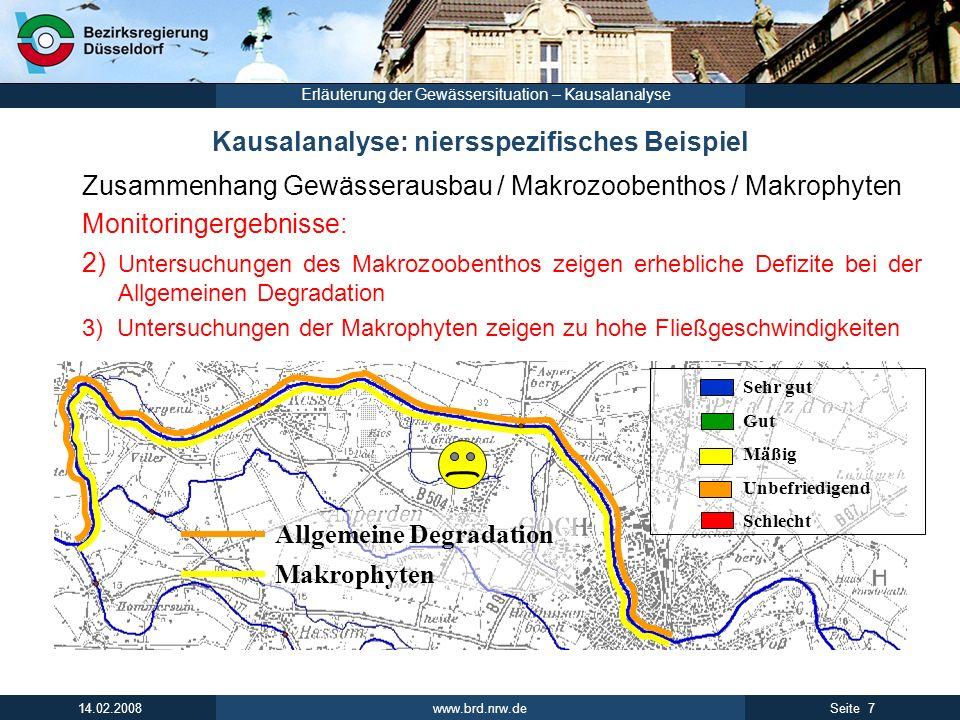 www.brd.nrw.de 7Seite 14.02.2008 Erläuterung der Gewässersituation – Kausalanalyse Kausalanalyse: niersspezifisches Beispiel Zusammenhang Gewässerausb