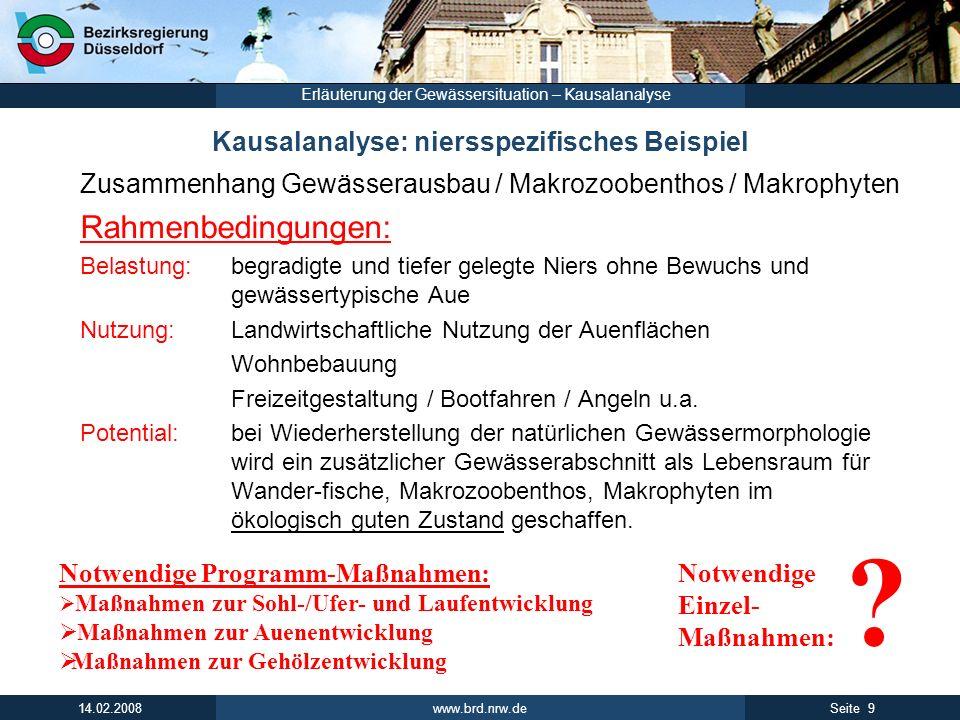 www.brd.nrw.de 10Seite 14.02.2008 Erläuterung der Gewässersituation – Kausalanalyse Kausalanalyse: niersspezifisches Beispiel Zusammenhang Gewässerausbau / Makrozoobenthos / Makrophyten