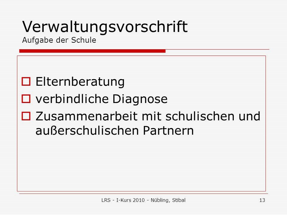 LRS - I-Kurs 2010 - Nübling, Stibal13 Elternberatung verbindliche Diagnose Zusammenarbeit mit schulischen und außerschulischen Partnern Verwaltungsvorschrift Aufgabe der Schule