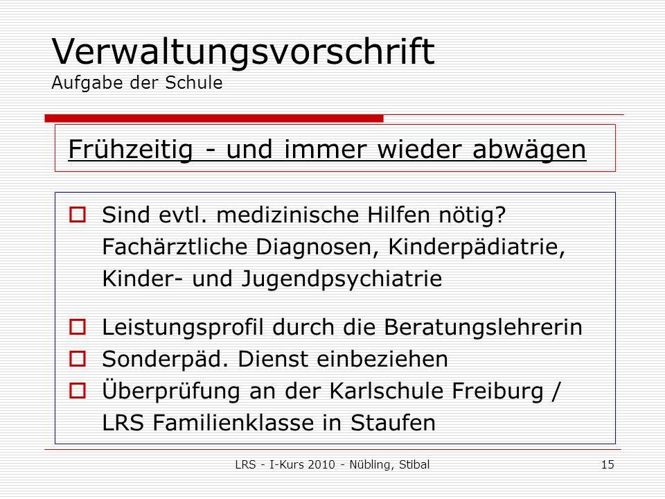 LRS - I-Kurs 2010 - Nübling, Stibal15 Frühzeitig - und immer wieder abwägen Sind evtl.