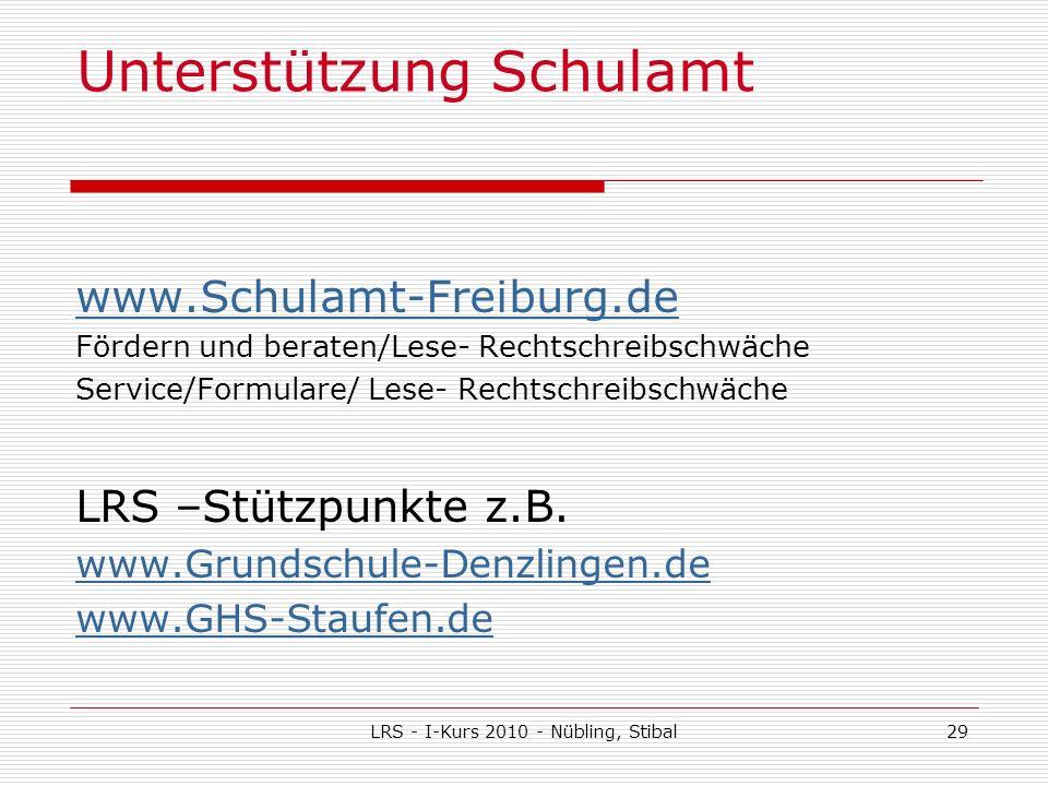 LRS - I-Kurs 2010 - Nübling, Stibal29 Unterstützung Schulamt www.Schulamt-Freiburg.de Fördern und beraten/Lese- Rechtschreibschwäche Service/Formulare/ Lese- Rechtschreibschwäche LRS –Stützpunkte z.B.