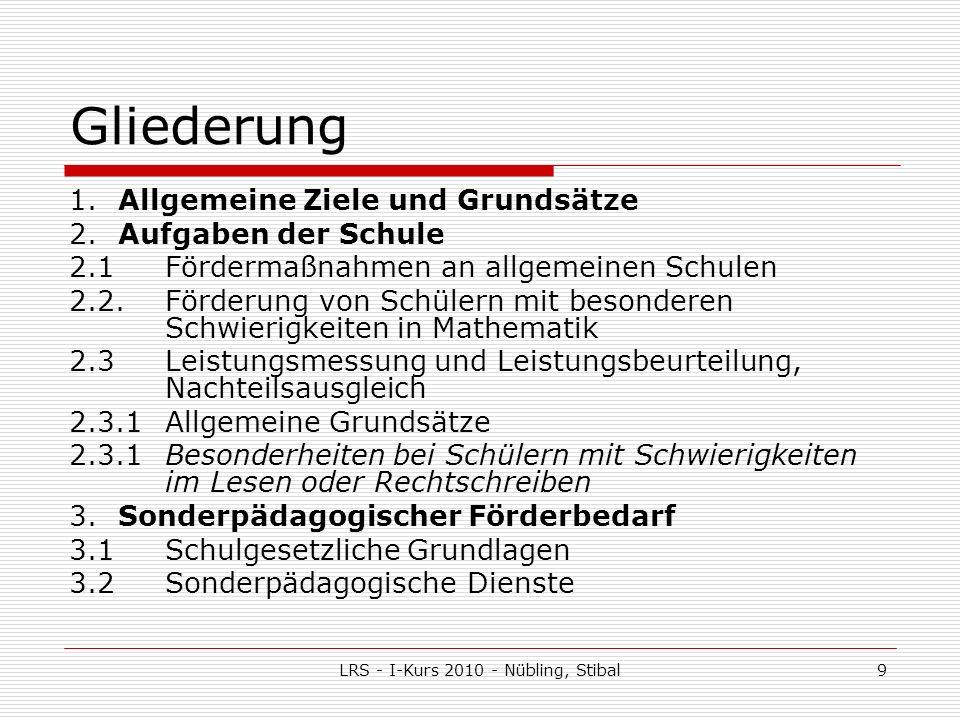 LRS - I-Kurs 2010 - Nübling, Stibal9 Gliederung 1.Allgemeine Ziele und Grundsätze 2.