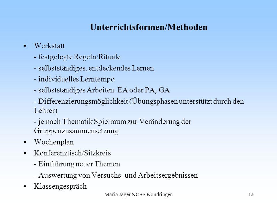Maria Jäger NCSS Köndringen12 Unterrichtsformen/Methoden Werkstatt - festgelegte Regeln/Rituale - selbstständiges, entdeckendes Lernen - individuelles