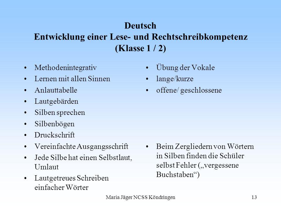 Maria Jäger NCSS Köndringen13 Deutsch Entwicklung einer Lese- und Rechtschreibkompetenz (Klasse 1 / 2) Methodenintegrativ Lernen mit allen Sinnen Anla