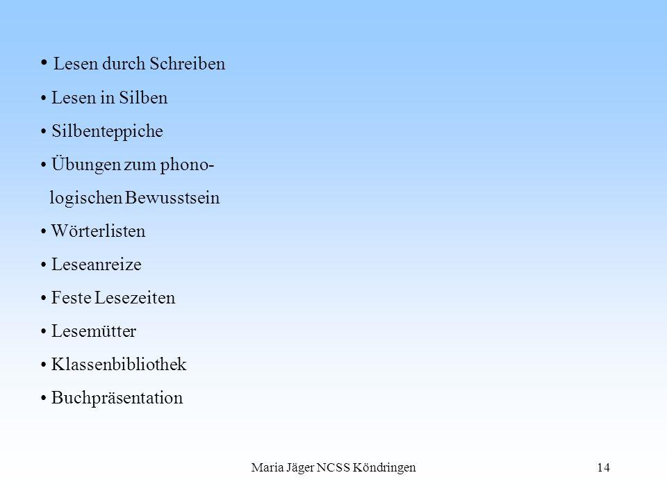 Maria Jäger NCSS Köndringen14 Lesen durch Schreiben Lesen in Silben Silbenteppiche Übungen zum phono- logischen Bewusstsein Wörterlisten Leseanreize F