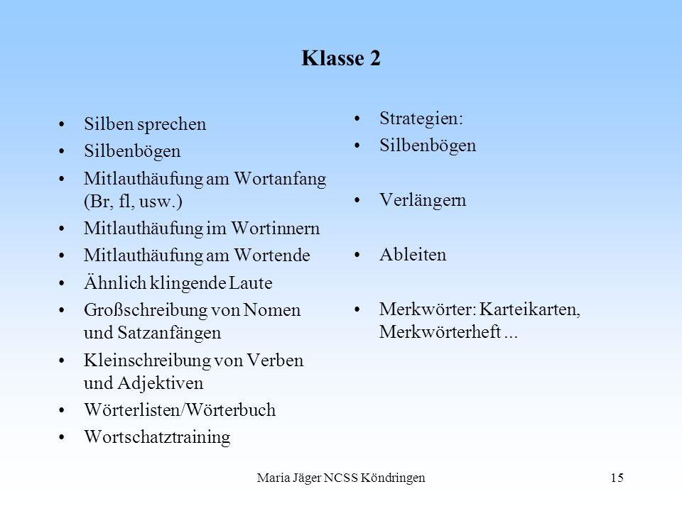 Maria Jäger NCSS Köndringen15 Klasse 2 Silben sprechen Silbenbögen Mitlauthäufung am Wortanfang (Br, fl, usw.) Mitlauthäufung im Wortinnern Mitlauthäu