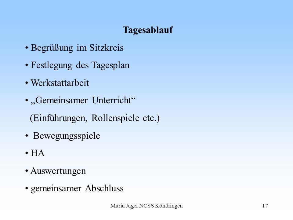 Maria Jäger NCSS Köndringen17 Tagesablauf Begrüßung im Sitzkreis Festlegung des Tagesplan Werkstattarbeit Gemeinsamer Unterricht (Einführungen, Rollen