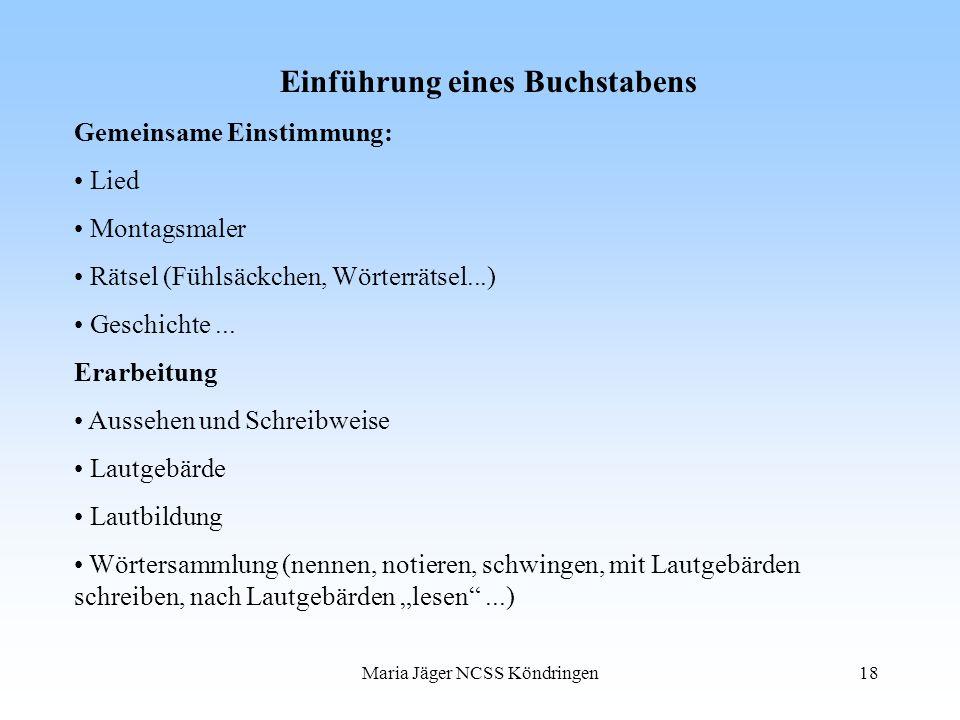 Maria Jäger NCSS Köndringen18 Einführung eines Buchstabens Gemeinsame Einstimmung: Lied Montagsmaler Rätsel (Fühlsäckchen, Wörterrätsel...) Geschichte