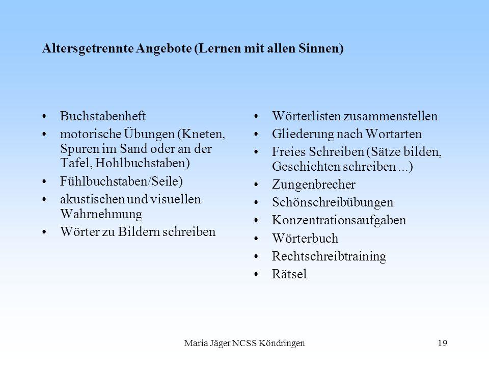 Maria Jäger NCSS Köndringen19 Altersgetrennte Angebote (Lernen mit allen Sinnen) Buchstabenheft motorische Übungen (Kneten, Spuren im Sand oder an der