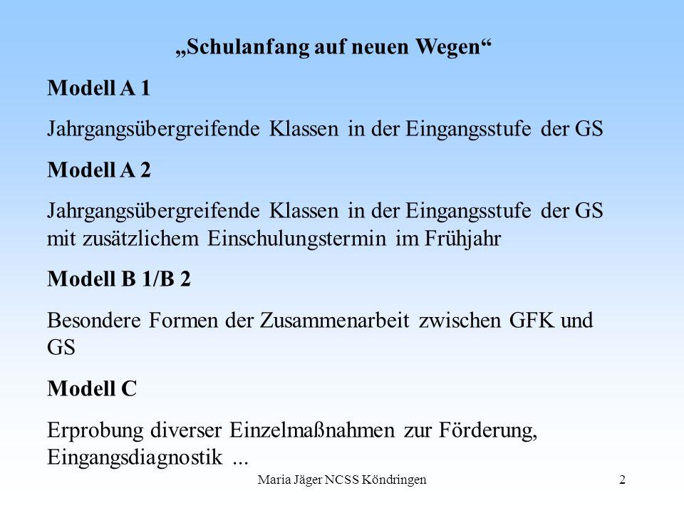 Maria Jäger NCSS Köndringen2 Schulanfang auf neuen Wegen Modell A 1 Jahrgangsübergreifende Klassen in der Eingangsstufe der GS Modell A 2 Jahrgangsübe