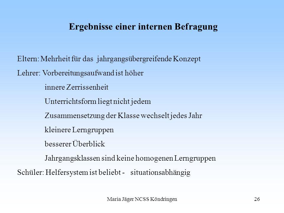 Maria Jäger NCSS Köndringen26 Ergebnisse einer internen Befragung Eltern: Mehrheit für das jahrgangsübergreifende Konzept Lehrer: Vorbereitungsaufwand