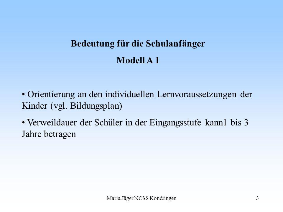 Maria Jäger NCSS Köndringen3 Bedeutung für die Schulanfänger Modell A 1 Orientierung an den individuellen Lernvoraussetzungen der Kinder (vgl. Bildung