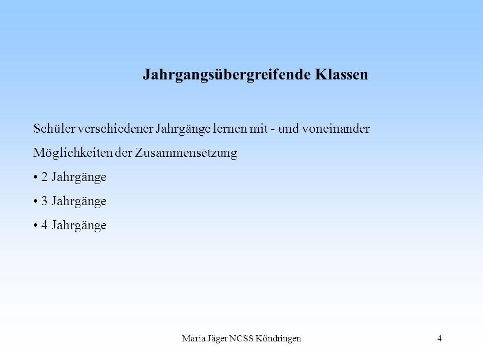 Maria Jäger NCSS Köndringen4 Jahrgangsübergreifende Klassen Schüler verschiedener Jahrgänge lernen mit - und voneinander Möglichkeiten der Zusammenset