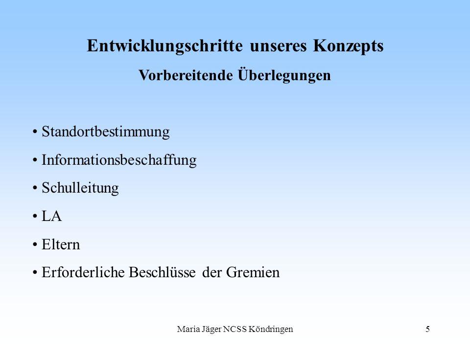 Maria Jäger NCSS Köndringen5 Entwicklungschritte unseres Konzepts Vorbereitende Überlegungen Standortbestimmung Informationsbeschaffung Schulleitung L